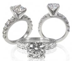 Trellis Cathedral Engagement Ring Set with Russian Brilliants®