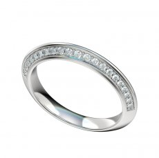 Knife Edge Band With Bead Set Diamonds 0.40ct Total Weight