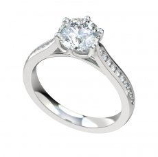 Cathedral Engagement Ring With 0.20ctw Channel Set Diamonds