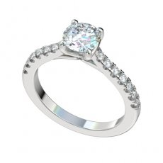 Cathedral Style Engagement Ring With 0.28ctw Prong Set Diamonds