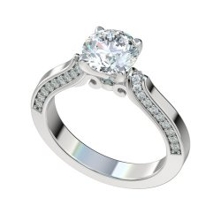 Fancy Cathedral Engagement Ring With 0.30ct Channel Set Diamonds