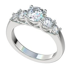 5 Stone Trellis Engagement Ring With 0.7ct Total RB Sides