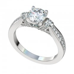 Engagement Ring With 0.33ctw Bead Set Shoulders And Shank