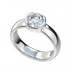 Half Bezel Solid Gallery Solitaire Engagement Ring