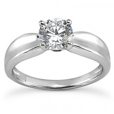 Concave Shank Solitaire Engagement Ring