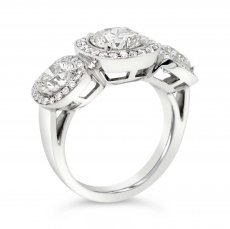 3 Stone Ring with Cushion Halos
