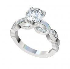 Ribbon Style Engagement Ring With 0.27ctw Bead Set Diamonds
