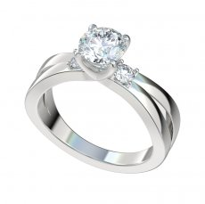 Split Shank Engagement Ring With 0.20ctw Accent Diamonds