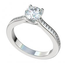 Trellis Prong Cathedral Engagement Ring 0.22ctw Channel Diamonds