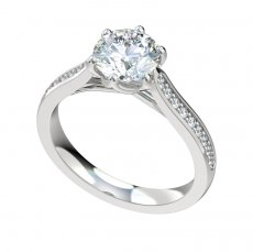 Six Prong Cathedral Engagement Ring W/0.18ct Bead Set Diamonds