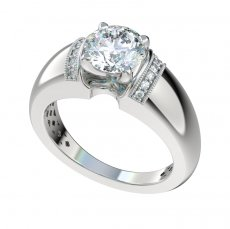 Wide Shank Engagement Ring With 0.07ctw Bead Set Diamonds