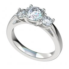 3 Stone Cathedral Engagement Ring With 0.5ct Total RB Sides