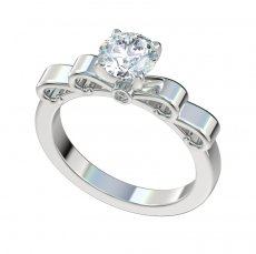 Ribbon Top Engagement Ring With 0.03ctw Bezel Set Diamonds