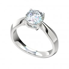 Knife Edge Solitaire Basket Setting Engagement Ring