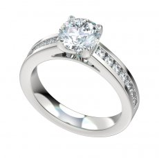 Cathedral Style Engagement Ring With 0.42ct Channel Set Diamonds