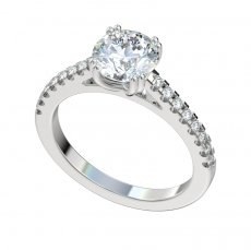 Cathedral Engagement Ring With 0.24ctw Prong Set Diamonds