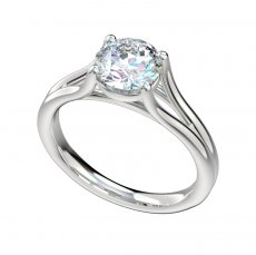Split Shank Four Prong Solitaire Engagement Ring
