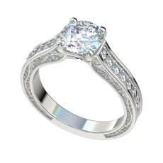 Vintage Vine Detailed Engagement Ring With 0.18ctw Diamonds
