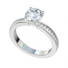 Engagement Ring With 0.18ctw Bead Set Diamond Shank