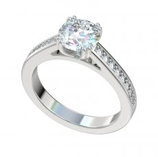 Cathedral Engagement Ring With 0.24ctw Bead Set Diamonds