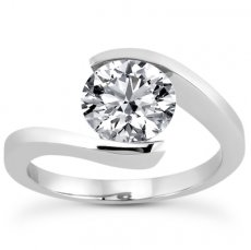 Half Bezel Round Bypass Solitaire Ring