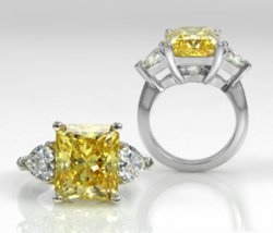Stunning Custom Made Canary Yellow 3-Stone Ring
