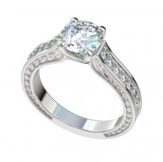Vintage Leaf Detailed Trellis Engagement Ring W/0.18ct Diamonds