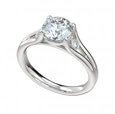 Split Shank Engagement Ring W/ 0.04ctw Bezel Set Accent Diamonds