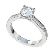 Cathedral Engagement Ring With 0.15ctw Bead Set Diamonds