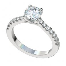 Trellis Cathedral Engagement Ring With 0.28ct Prong Set Diamonds