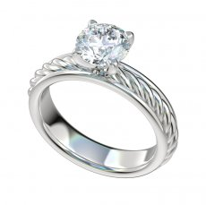 Solitaire Cable Shank Engagement Ring With Border