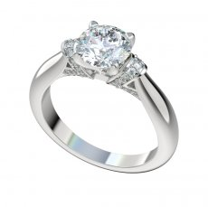 Engagement Ring With 0.17ctw Bead Set Diamond Shoulders