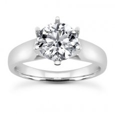 Cathedral Trellis Solitaire Ring - Six Prong Round