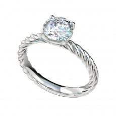Solitaire Cable Shank Engagement Ring With Basket Style Head