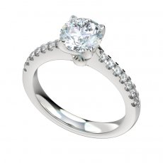 Solid Cathedral Engagement Ring With 0.24ctw Prong Set Diamonds