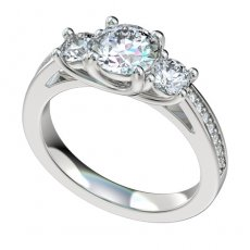 3 Stone Trellis Engagement Ring W/0.14ct Bead Set Diamond Shank