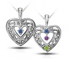 Mother's Heart Pendant Accented With Color Enhanced Diamonds