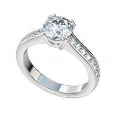 Basket Style Head Engagement Ring With 0.28ctw Bead Set Diamonds