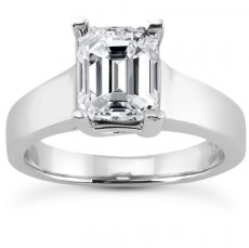 Cathedral Trellis Solitaire Ring For Radiant Or Emerald Cut