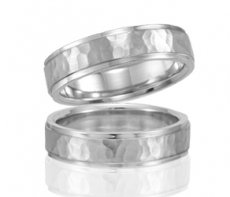 Wedding Band - Hammered Satin Finish With Step Edges