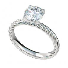 Solitaire Cable Shank Engagement Ring