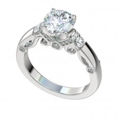 Engagement Ring With 0.35ct Bead, Bezel and Channel Set Diamonds