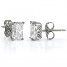 Scroll Style Earrings - Radiant or Emerald Cut
