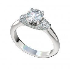 Engagement Ring With 0.28ctw Pave Diamond Collar