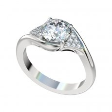 Bypass Style Engagement Ring With 0.15ctw Bead Set Diamonds