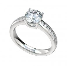 Channel Set 0.27ctw Engagement Ring With Basket Style Head