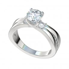 Split Shank Engagement Ring With 0.33ctw Accent Diamonds