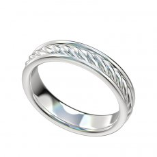 Cable Design Wedding Band With Border 4.4mm Wide