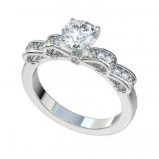 Ribbon Top Engagement Ring W/0.27ctw Bead and Bezel Set Diamonds
