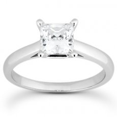 Princess Cut 2.4mm Wide Cathedral Solitaire Engagement Ring